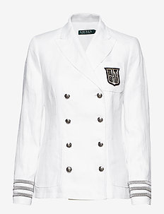Bullion-Patch Linen Blazer - WHITE