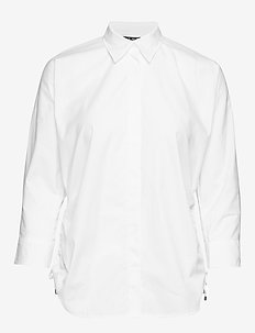 Side-Tie Cotton Button-Down Shirt - WHITE