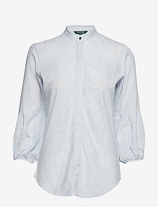 Cotton-Blend Puff-Sleeve Shirt - BLUE/WHITE