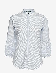 Cotton-Blend Puff-Sleeve Shirt - BLUE/WHITE