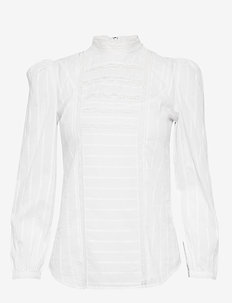 Lace-Inset Cotton Top - WHITE
