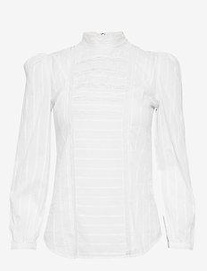 Lace-Inset Cotton Top - WHITE