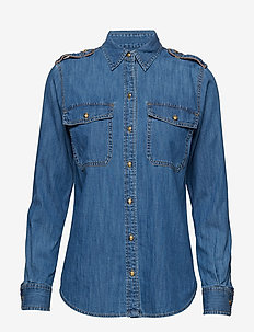 Epaulet Denim Shirt - INDIGO FLORA WASH
