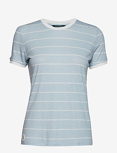 Striped Linen-Blend Tee - ENGLISH BLUE/MASC