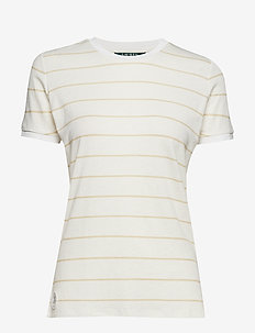 Striped Linen-Blend Tee - MASCARPONE CREAM/