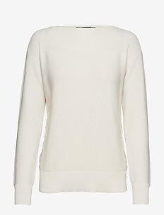 Lace-Up Cotton Sweater - MASCARPONE CREAM
