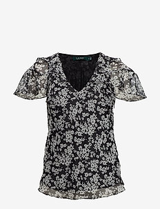 Ruffled Floral Georgette Top - POLO BLACK/SILK W