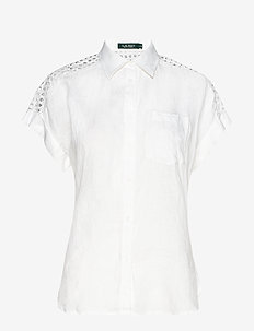 Lace-Yoke Dolman-Sleeve Shirt - overhemden met korte mouwen - white