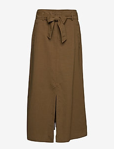 Belted Cotton Blend Skirt - EXPLORER OLIVE