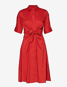 Buttoned Fit-and-Flare Dress - CANYON RED