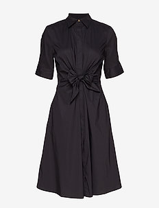Buttoned Fit-and-Flare Dress - POLO BLACK