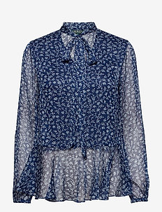 Print Tie-Neck Georgette Top - VINTAGE BLUE/WHIS