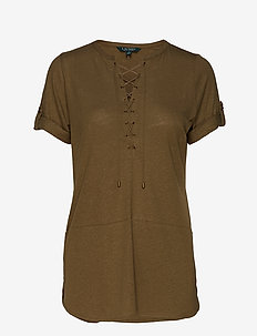 Lace-Up Linen-Blend Tunic - EXPLORER OLIVE