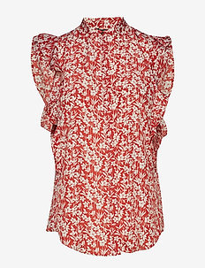 Floral-Print Crepe Top - CANYON RED/MASCAR
