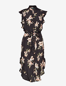 Ruffled-Hem Crepe Dress - POLO BLACK MULTI