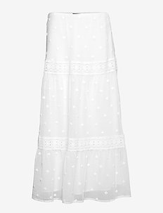 Lace-Trim Cotton-Blend Skirt - WHITE