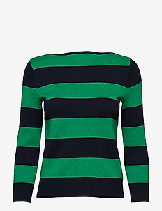 Cotton Blend Boatneck Sweater - LAUREN NAVY/CAMBR
