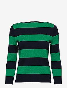 Cotton Blend Boatneck Sweater - LAUREN NAVY/CAMBR