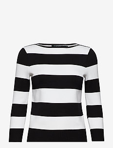 Cotton Blend Boatneck Sweater - POLO BLACK/SILK W