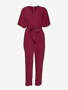 MATTE CREPE-JUMPSUIT - DARK RASBERRY