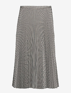 REFINED SUITING-PLEATED SKIRT - BROWN MULTI