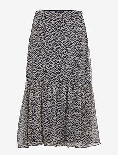 POLY CRINKLE GGT-SKIRT - LAUREN NAVY/TAUPE