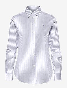 Easy Care Striped Cotton Shirt - långärmade skjortor - white/blue multi