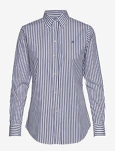 No-Iron Striped Shirt - långärmade skjortor - white/blue