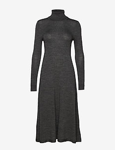 MERINO WOOL-LS TN DRESS - sukienki dzianinowe - lexington grey he