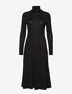 MERINO WOOL-LS TN DRESS - POLO BLACK