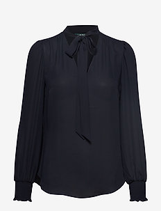 DRAPEY POLY GGT-LS TOP - LAUREN NAVY