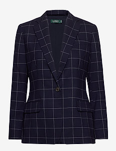 Check-Print Wool-Blend Blazer - blazers - lauren navy/cream
