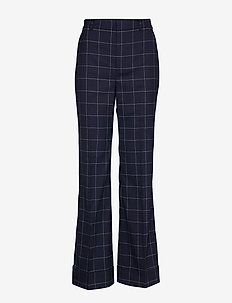 Print Wool-Blend Wide-Leg Pant - LAUREN NAVY/CREAM