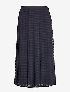 Pleated A-Line Skirt - midi kjolar - lauren navy