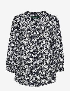 Floral-Print Georgette Top - langermede bluser - lauren navy/cream