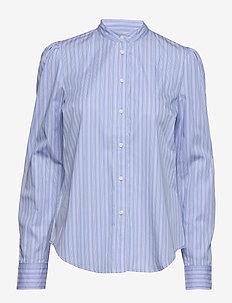 Striped Cotton Shirt - långärmade skjortor - blue/white multi