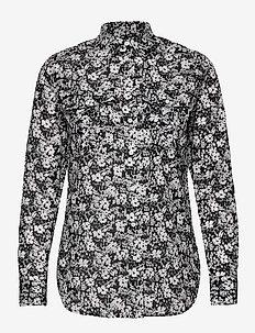 Floral Cotton Voile Shirt - pitkähihaiset puserot - lauren navy/cream