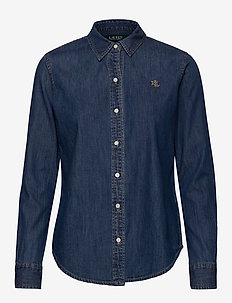 Collared Denim Shirt - chemises en jeans - bright medium was