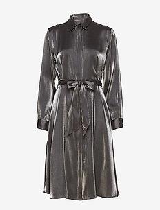 SHIMMER SATIN-DRESS - BLACK/GUNMETAL