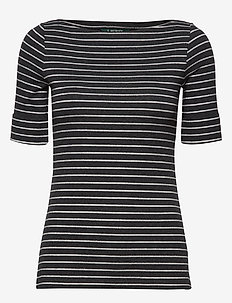 Striped Boatneck Tee - randiga t-shirts - madison grey heat