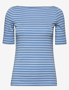 Cotton-Blend Boatneck Top - randiga t-shirts - eos blue/mascarpo