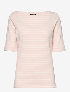 Cotton-Blend Boatneck Top - randiga t-shirts - pink macaroon / m