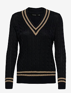 Metallic Cricket Sweater - pulls - lauren navy/gold