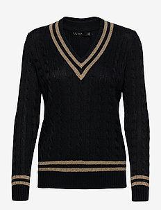 Metallic Cricket Sweater - jumpers - lauren navy/gold