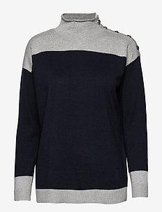 Color-Blocked Sweater - LAUREN NAVY/PEARL