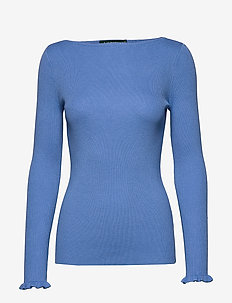 Ruffle-Cuff Ribbed Sweater - tröjor - eos blue