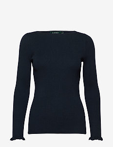 Ruffle-Cuff Ribbed Sweater - tröjor - lauren navy