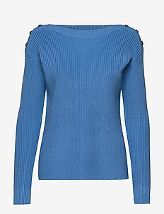 Button-Trim Cotton Sweater - tröjor - eos blue