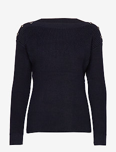 Button-Trim Cotton Sweater - LAUREN NAVY