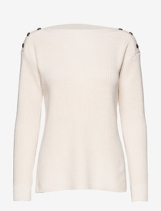 Button-Trim Cotton Sweater - neulepuserot - mascarpone cream